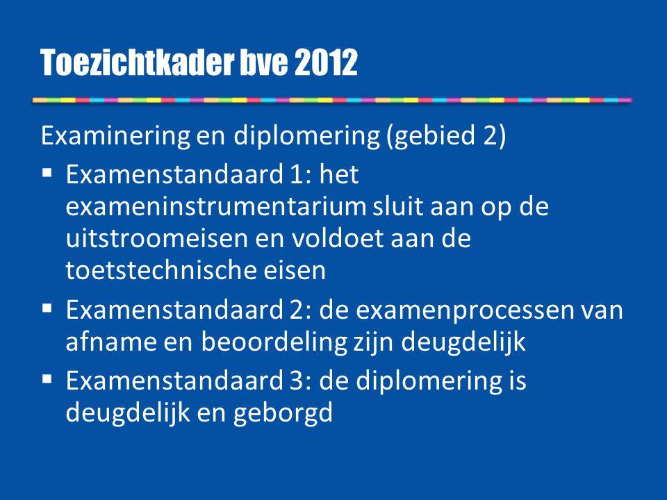 Toezichtkader bve 2012 Examinering en diplomering (gebied 2)  Examenstandaard 1: het exameninstrumentarium sluit aan op de uitstroomeisen en voldoet