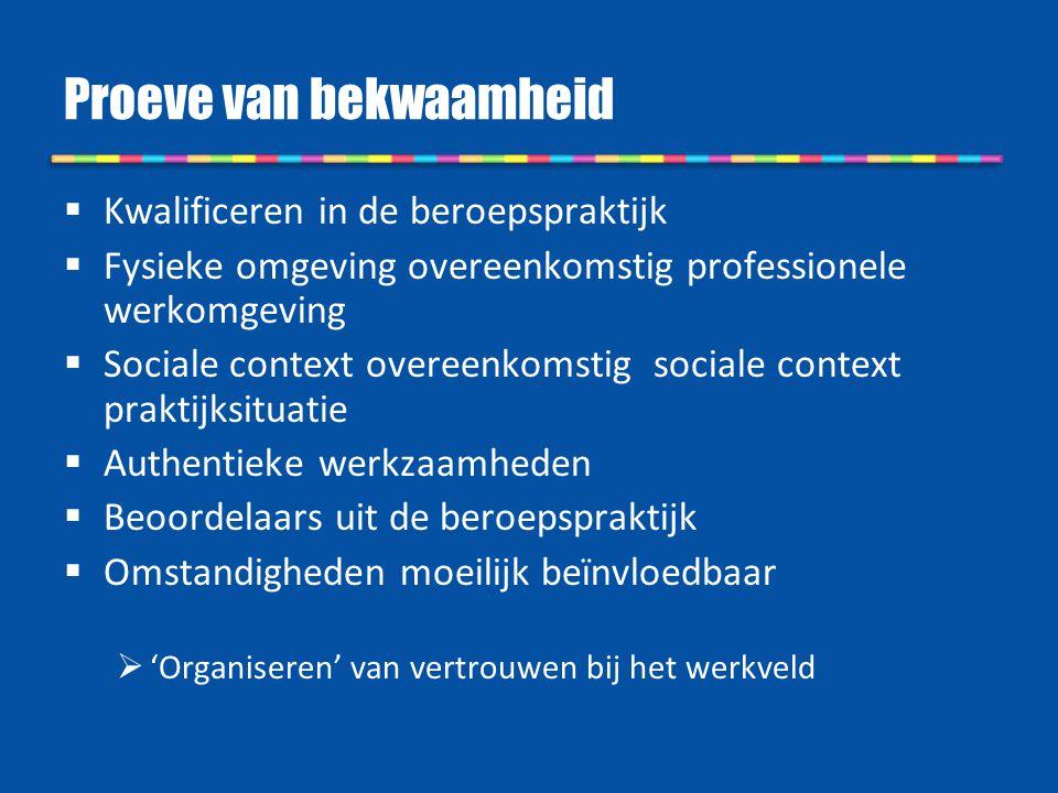 Proeve van bekwaamheid  Kwalificeren in de beroepspraktijk  Fysieke omgeving overeenkomstig professionele werkomgeving  Sociale context overeenkoms