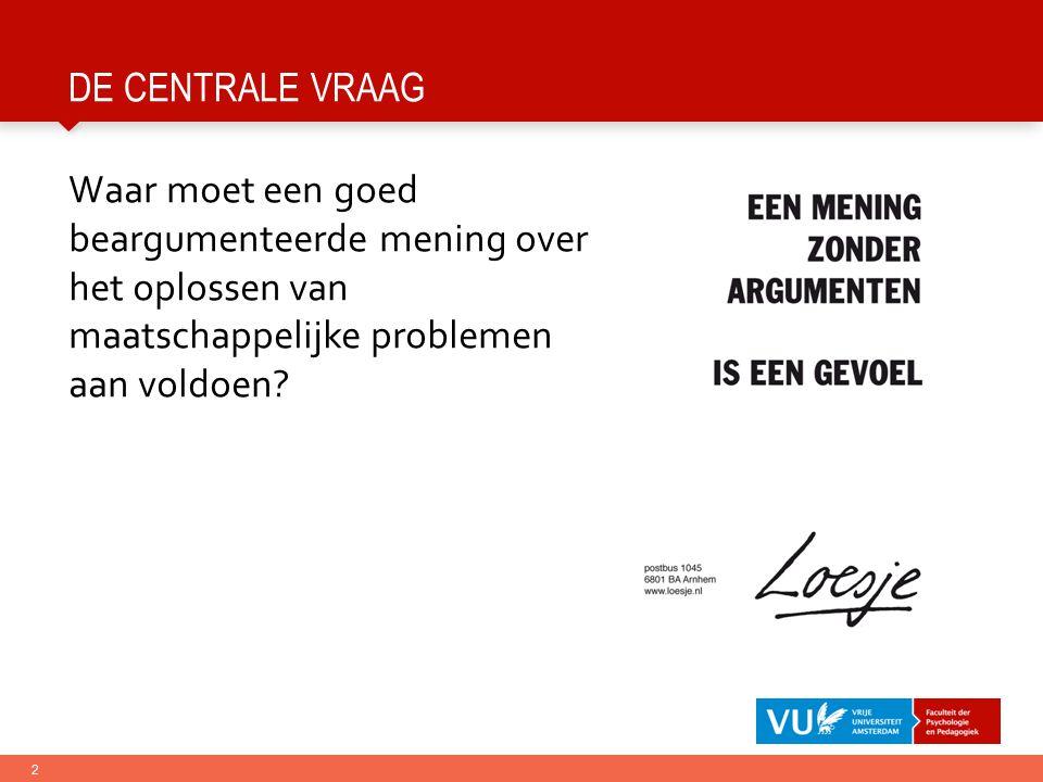 2 DE CENTRALE VRAAG Waar moet een goed beargumenteerde mening over het oplossen van maatschappelijke problemen aan voldoen?