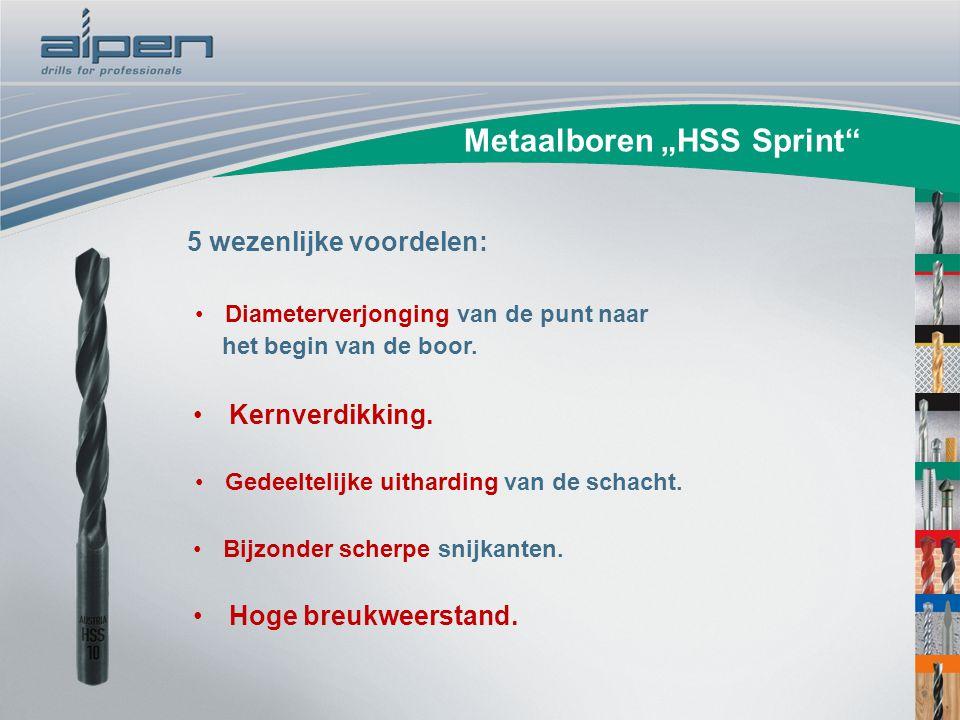 """Metaalboren """"HSS Sprint"""" Diameterverjonging van de punt naar het begin van de boor. 5 wezenlijke voordelen: Kernverdikking. Gedeeltelijke uitharding v"""