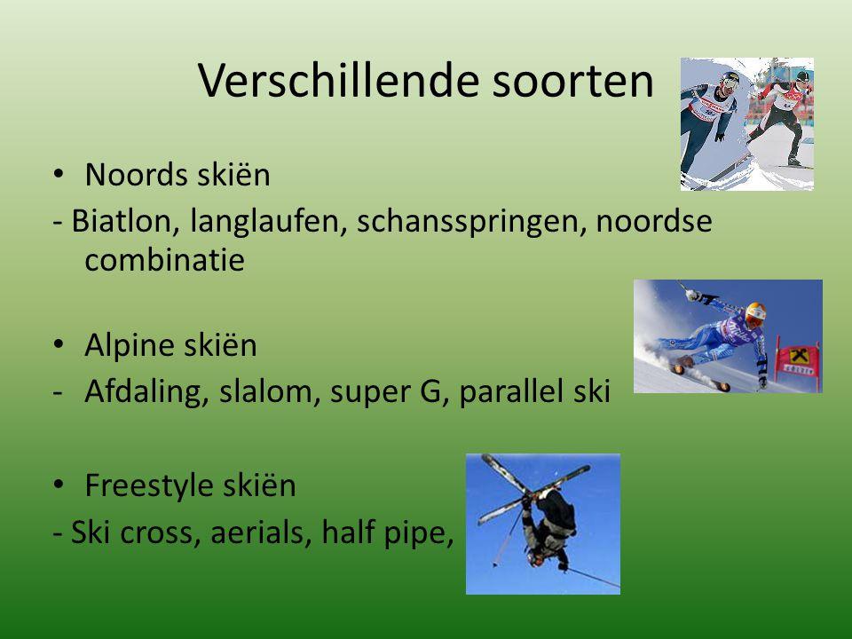 Verschillende soorten Noords skiën - Biatlon, langlaufen, schansspringen, noordse combinatie Alpine skiën -Afdaling, slalom, super G, parallel ski Fre