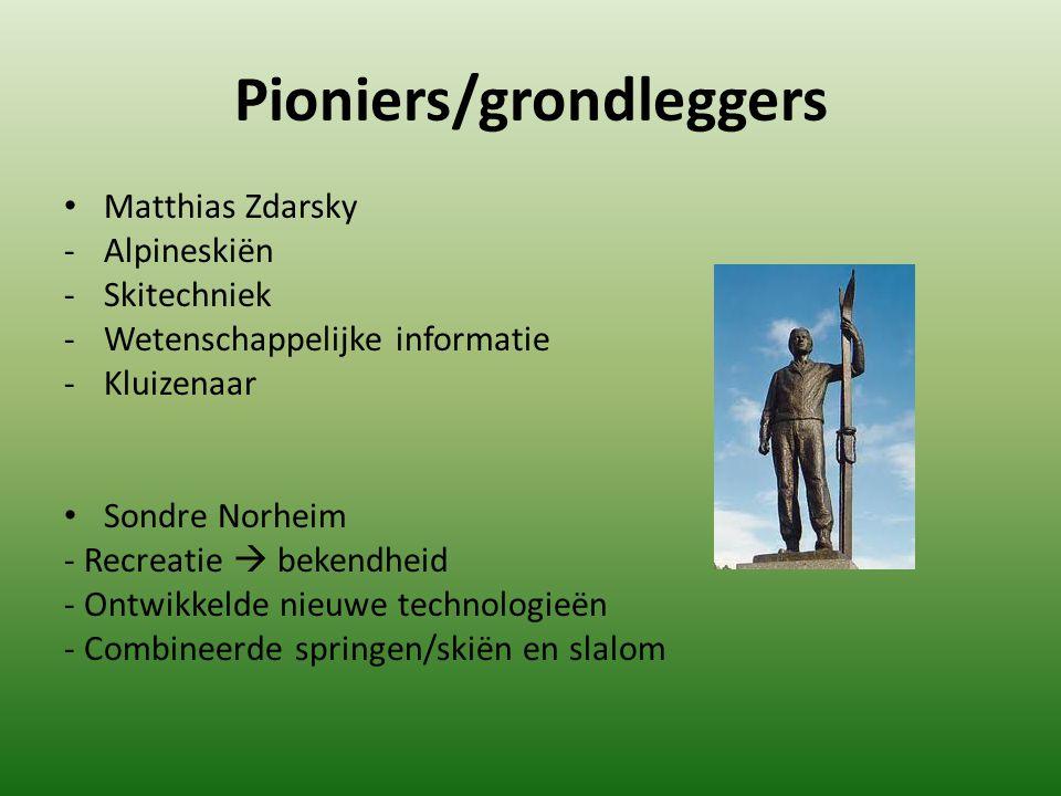 Pioniers/grondleggers Matthias Zdarsky - Alpineskiën -Skitechniek -Wetenschappelijke informatie -Kluizenaar Sondre Norheim - Recreatie  bekendheid -