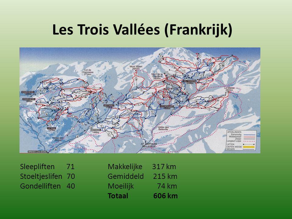 Les Trois Vallées (Frankrijk) Sleepliften 71 Makkelijke 317 km Stoeltjeslifen 70Gemiddeld 215 km Gondelliften 40 Moeilijk 74 km Totaal 606 km