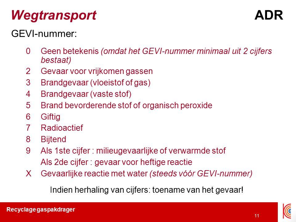 Recyclage gaspakdrager 11 WegtransportADR GEVI-nummer: 0Geen betekenis (omdat het GEVI-nummer minimaal uit 2 cijfers bestaat) 2Gevaar voor vrijkomen g