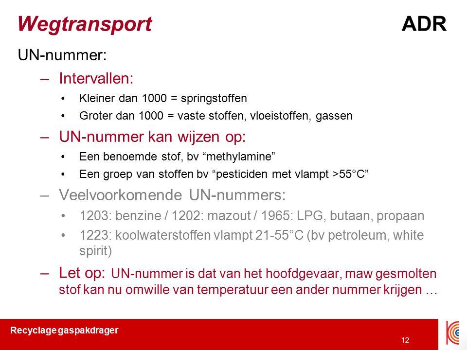 Recyclage gaspakdrager 12 Wegtransport ADR UN-nummer: –Intervallen: Kleiner dan 1000 = springstoffen Groter dan 1000 = vaste stoffen, vloeistoffen, ga