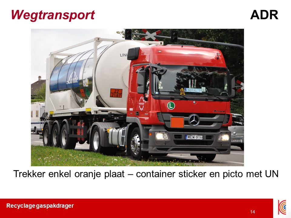 Recyclage gaspakdrager 14 WegtransportADR Trekker enkel oranje plaat – container sticker en picto met UN