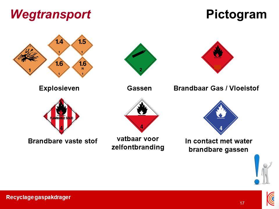 Recyclage gaspakdrager 17 WegtransportPictogram ExplosievenGassenBrandbaar Gas / Vloeistof Brandbare vaste stof vatbaar voor zelfontbranding In contac