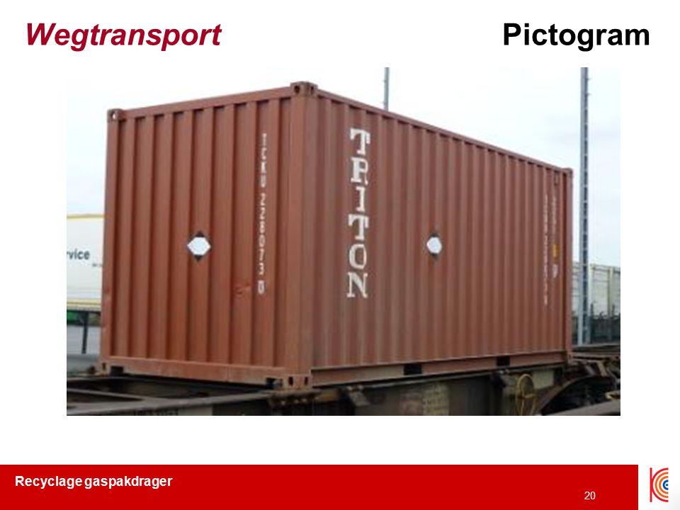 Recyclage gaspakdrager 20 WegtransportPictogram