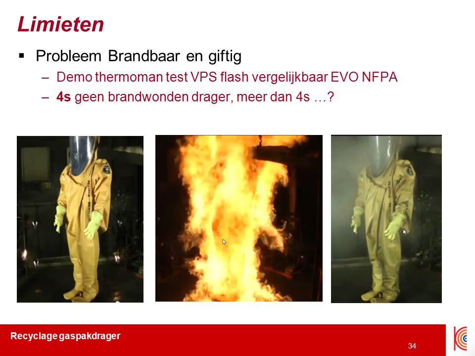 Recyclage gaspakdrager 34 Limieten  Probleem Brandbaar en giftig –Demo thermoman test VPS flash vergelijkbaar EVO NFPA –4s geen brandwonden drager, m