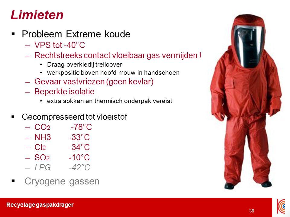 Recyclage gaspakdrager 36 Limieten  Probleem Extreme koude –VPS tot -40°C –Rechtstreeks contact vloeibaar gas vermijden ! Draag overkledij trellcover