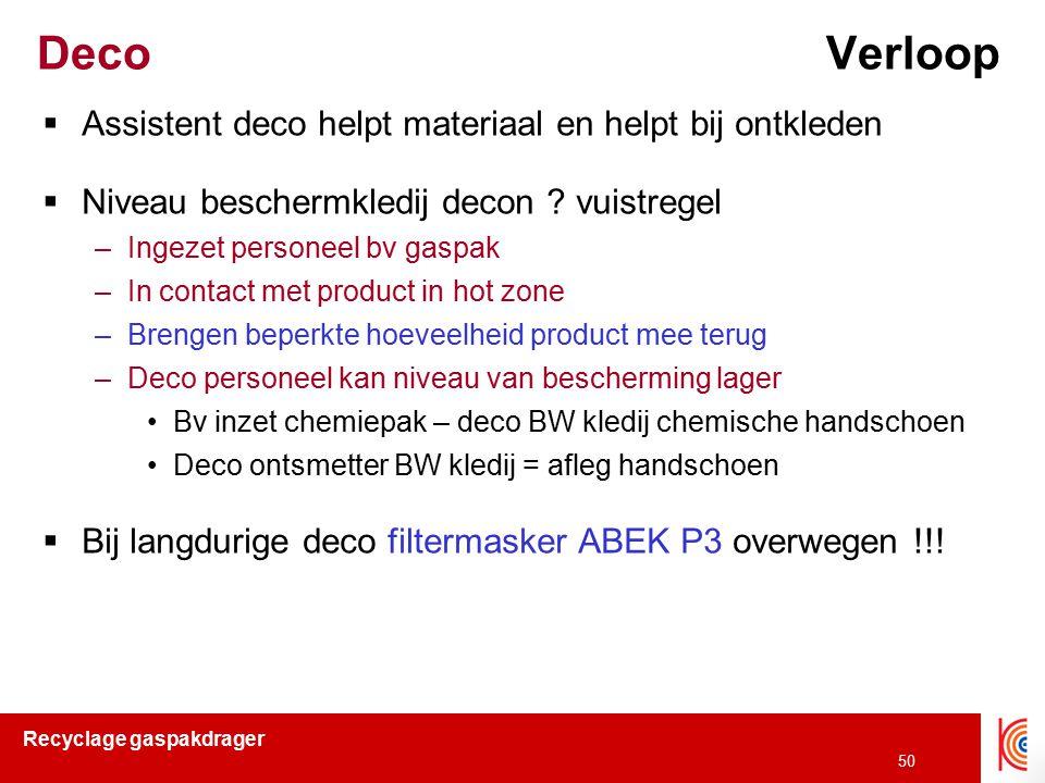 Recyclage gaspakdrager 50 Deco Verloop  Assistent deco helpt materiaal en helpt bij ontkleden  Niveau beschermkledij decon ? vuistregel –Ingezet per