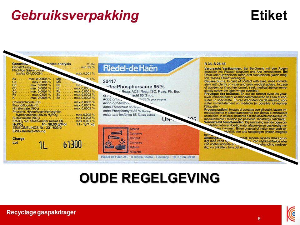 Recyclage gaspakdrager 6 GebruiksverpakkingEtiket OUDE REGELGEVING