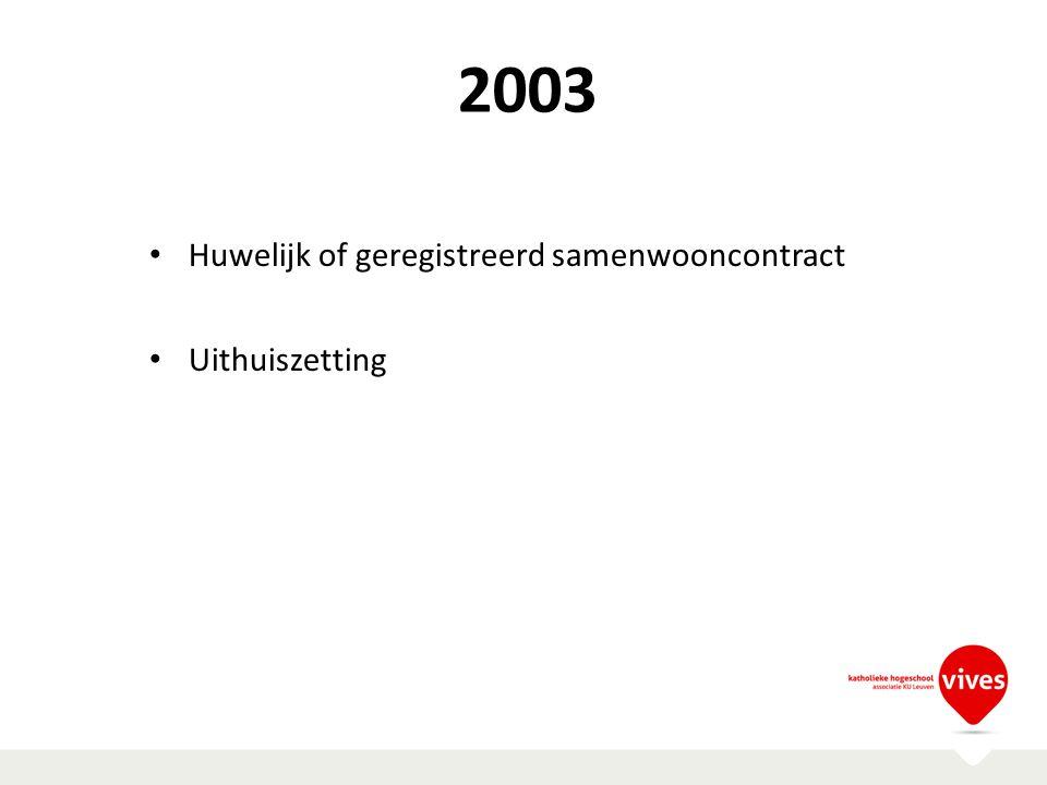 2003 Huwelijk of geregistreerd samenwooncontract Uithuiszetting