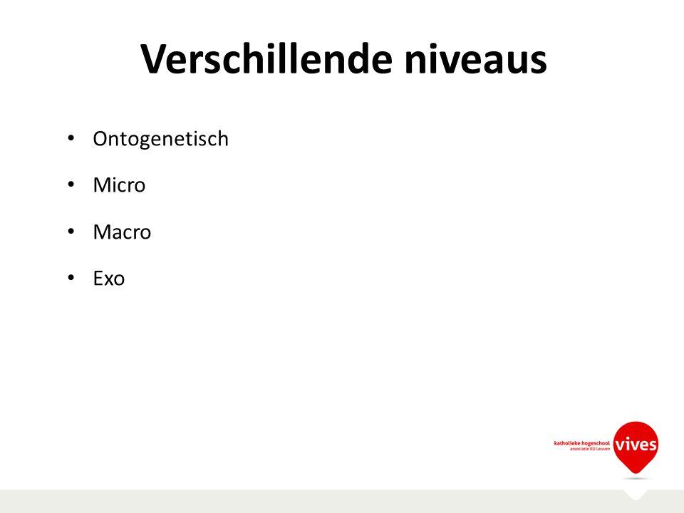 Verschillende niveaus Ontogenetisch Micro Macro Exo