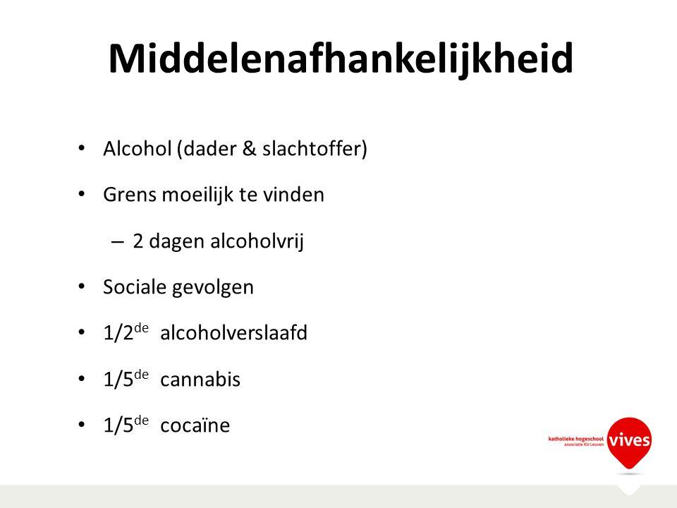 Middelenafhankelijkheid Alcohol (dader & slachtoffer) Grens moeilijk te vinden – 2 dagen alcoholvrij Sociale gevolgen 1/2 de alcoholverslaafd 1/5 de c
