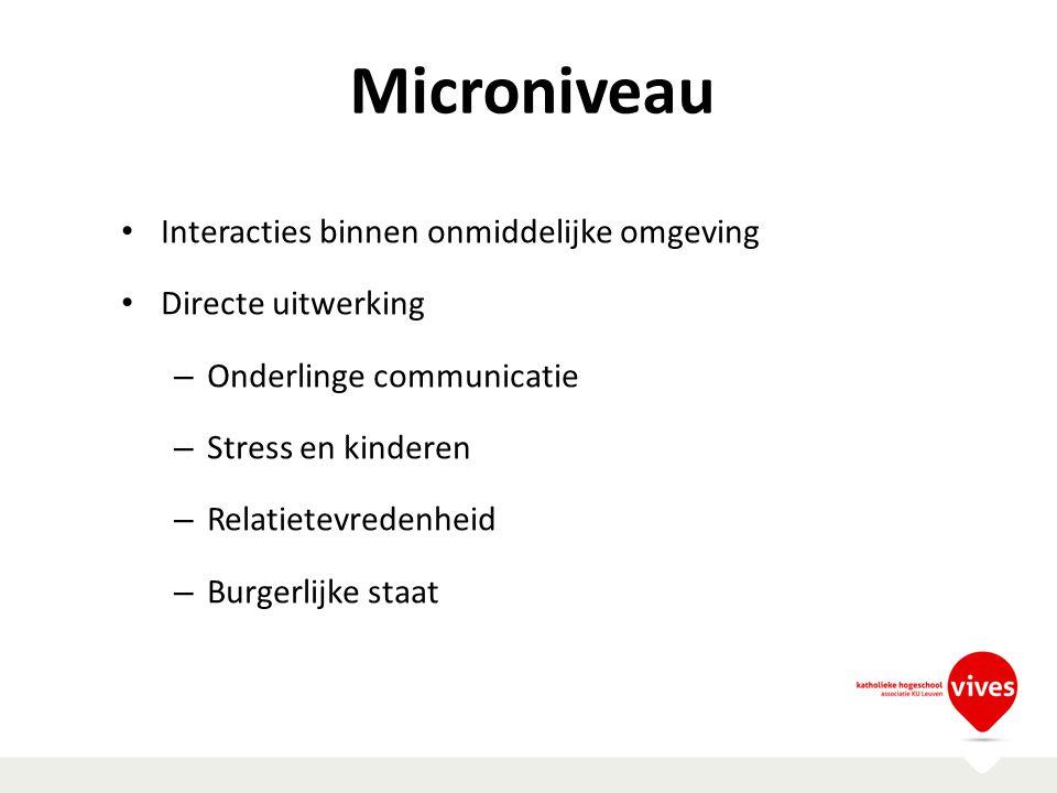 Microniveau Interacties binnen onmiddelijke omgeving Directe uitwerking – Onderlinge communicatie – Stress en kinderen – Relatietevredenheid – Burgerl