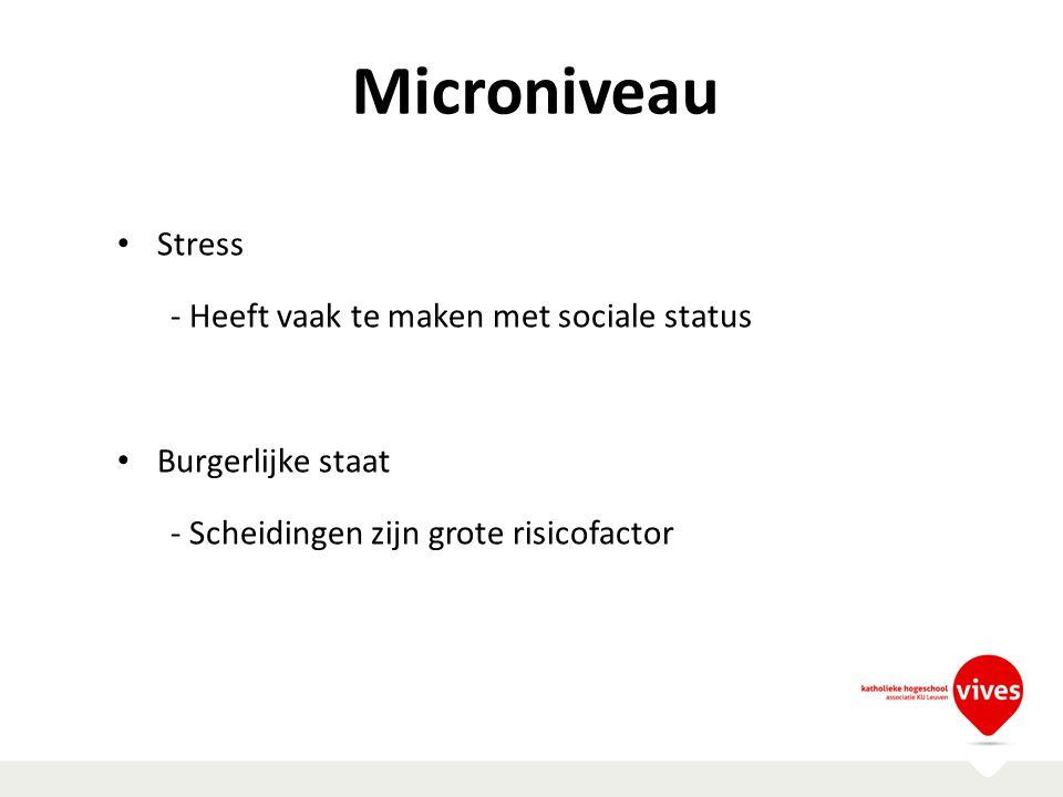 Microniveau Stress - Heeft vaak te maken met sociale status Burgerlijke staat - Scheidingen zijn grote risicofactor