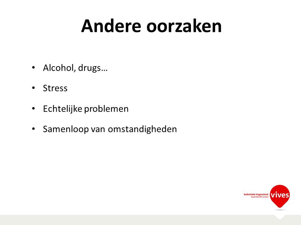 Andere oorzaken Alcohol, drugs… Stress Echtelijke problemen Samenloop van omstandigheden