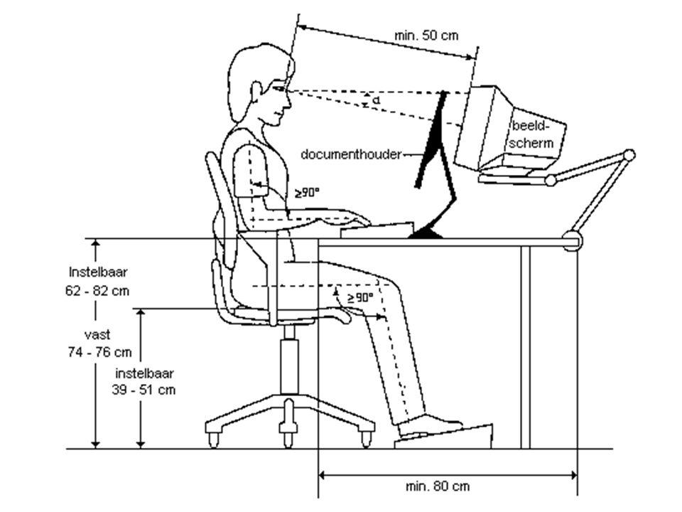 Stel uw stoel zo in dat de zitting niet tegen de achterkant van uw knieën duwt.