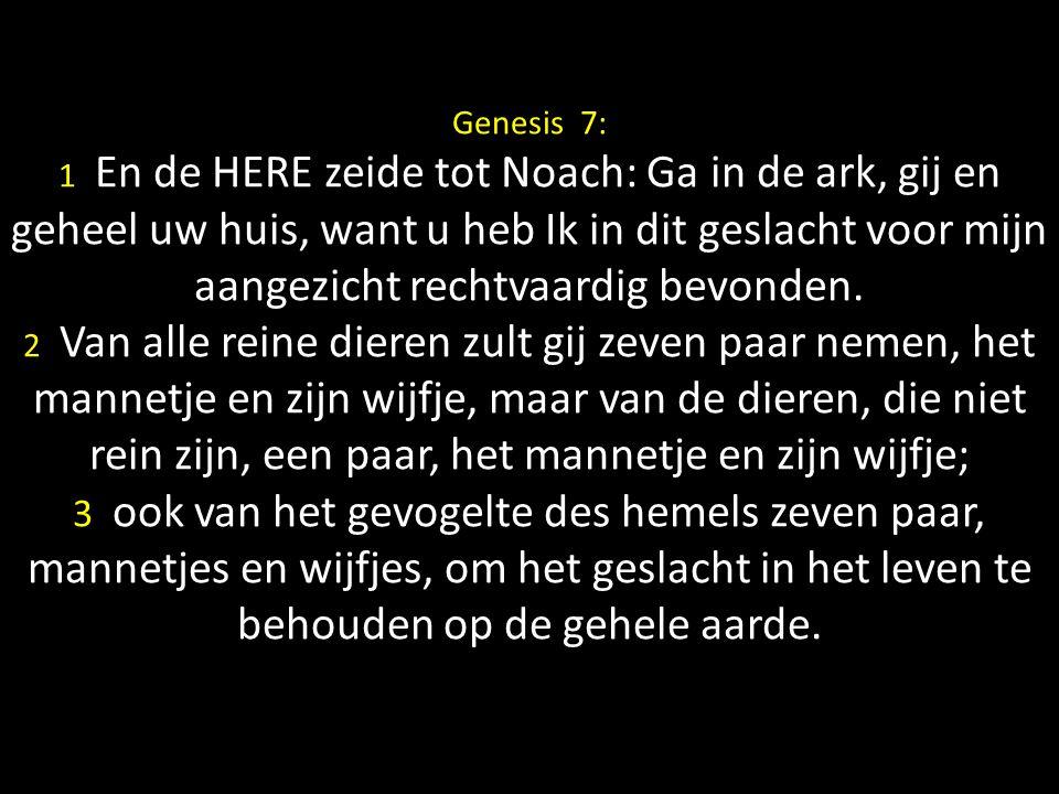 Genesis 7: 1 En de HERE zeide tot Noach: Ga in de ark, gij en geheel uw huis, want u heb Ik in dit geslacht voor mijn aangezicht rechtvaardig bevonden