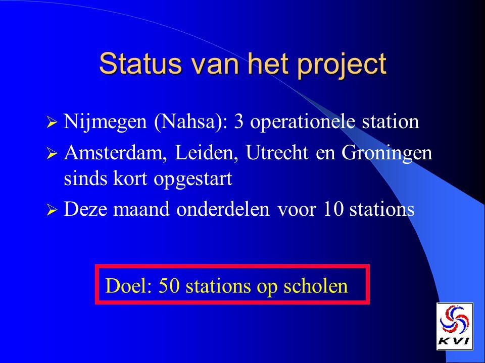 Status van het project  Nijmegen (Nahsa): 3 operationele station  Amsterdam, Leiden, Utrecht en Groningen sinds kort opgestart  Deze maand onderdelen voor 10 stations Doel: 50 stations op scholen