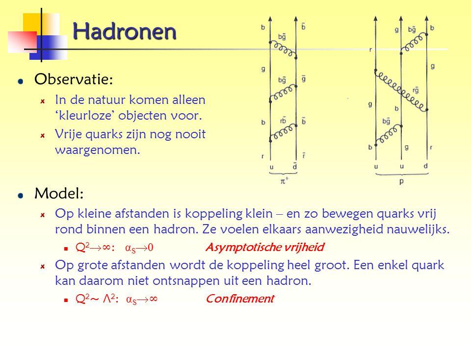 Hadronen Observatie: In de natuur komen alleen 'kleurloze' objecten voor. Vrije quarks zijn nog nooit waargenomen. Model: Op kleine afstanden is koppe