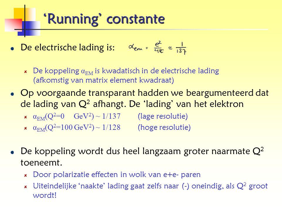 'Running' constante De electrische lading is: De koppeling α EM is kwadatisch in de electrische lading (afkomstig van matrix element kwadraat) Op voor