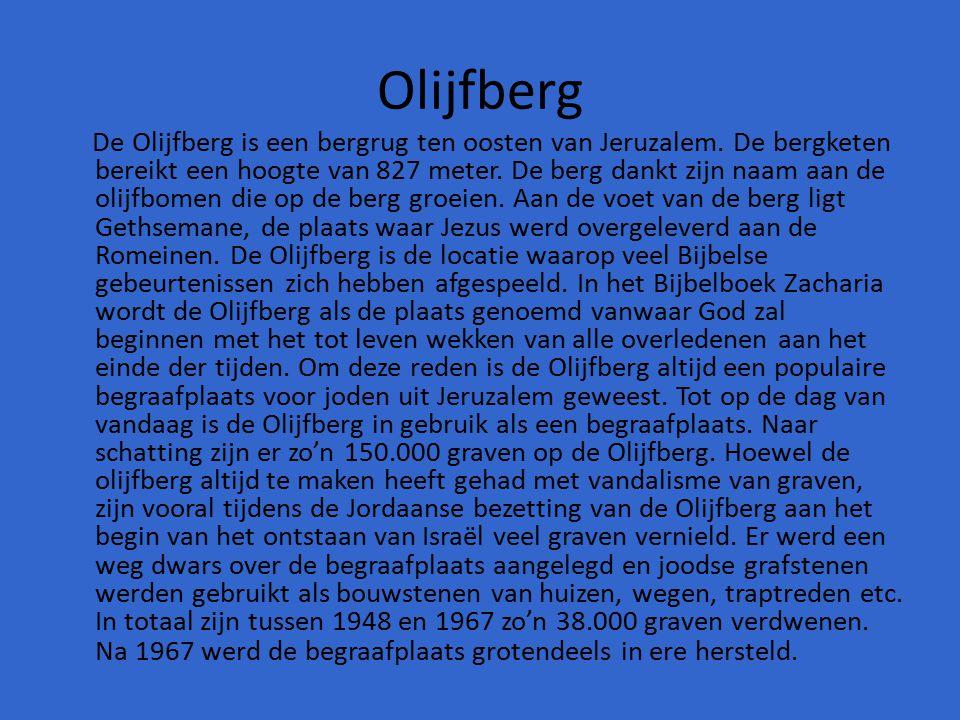 Olijfberg De Olijfberg is een bergrug ten oosten van Jeruzalem. De bergketen bereikt een hoogte van 827 meter. De berg dankt zijn naam aan de olijfbom