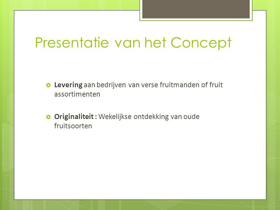 Presentatie van het Concept  Levering aan bedrijven van verse fruitmanden of fruit assortimenten  Originaliteit : Wekelijkse ontdekking van oude fru