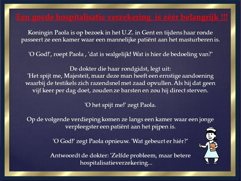 Een goede hospitalisatie verzekering is zéér belangrijk !!! Koningin Paola is op bezoek in het U.Z. in Gent en tijdens haar ronde passeert ze een kame