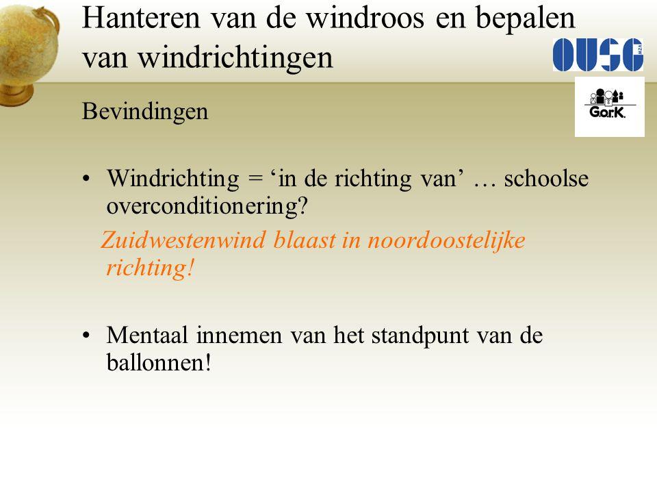 Bevindingen Windrichting = 'in de richting van' … schoolse overconditionering? Zuidwestenwind blaast in noordoostelijke richting! Mentaal innemen van