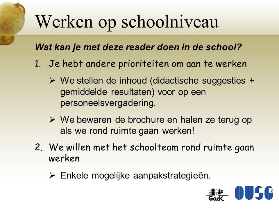 Werken op schoolniveau Wat kan je met deze reader doen in de school? 1.Je hebt andere prioriteiten om aan te werken  We stellen de inhoud (didactisch