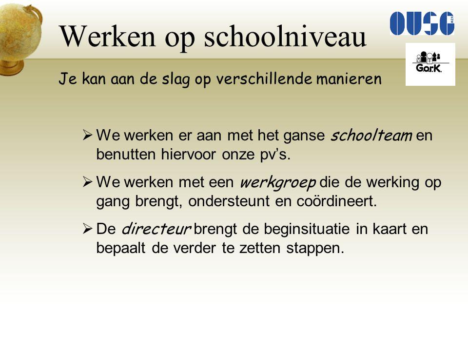 Werken op schoolniveau Aan de slag met het schoolteam  We vergelijken onze resultaten met de Vlaamse gemiddelden.
