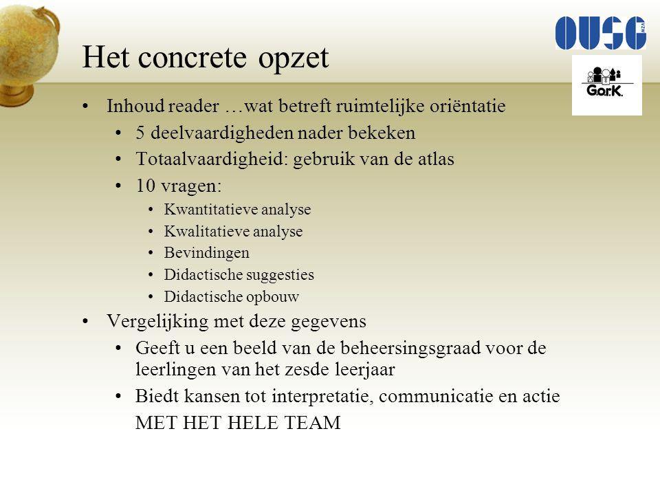 Het concrete opzet Inhoud reader …wat betreft ruimtelijke oriëntatie 5 deelvaardigheden nader bekeken Totaalvaardigheid: gebruik van de atlas 10 vrage