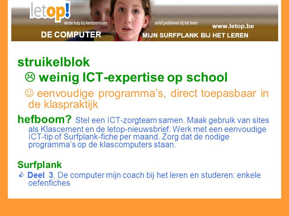 www.letop.be DE COMPUTER MIJN SURFPLANK BIJ HET LEREN struikelblok  weinig ICT-expertise op school eenvoudige programma's, direct toepasbaar in de kl