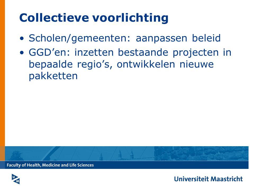 Collectieve voorlichting Scholen/gemeenten: aanpassen beleid GGD'en: inzetten bestaande projecten in bepaalde regio's, ontwikkelen nieuwe pakketten