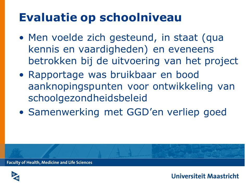 Evaluatie op schoolniveau Men voelde zich gesteund, in staat (qua kennis en vaardigheden) en eveneens betrokken bij de uitvoering van het project Rapportage was bruikbaar en bood aanknopingspunten voor ontwikkeling van schoolgezondheidsbeleid Samenwerking met GGD'en verliep goed