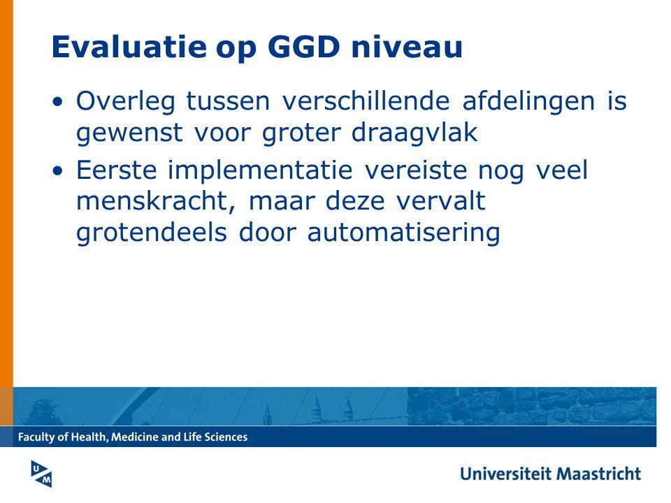 Evaluatie op GGD niveau Overleg tussen verschillende afdelingen is gewenst voor groter draagvlak Eerste implementatie vereiste nog veel menskracht, maar deze vervalt grotendeels door automatisering