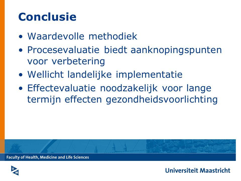 Conclusie Waardevolle methodiek Procesevaluatie biedt aanknopingspunten voor verbetering Wellicht landelijke implementatie Effectevaluatie noodzakelijk voor lange termijn effecten gezondheidsvoorlichting