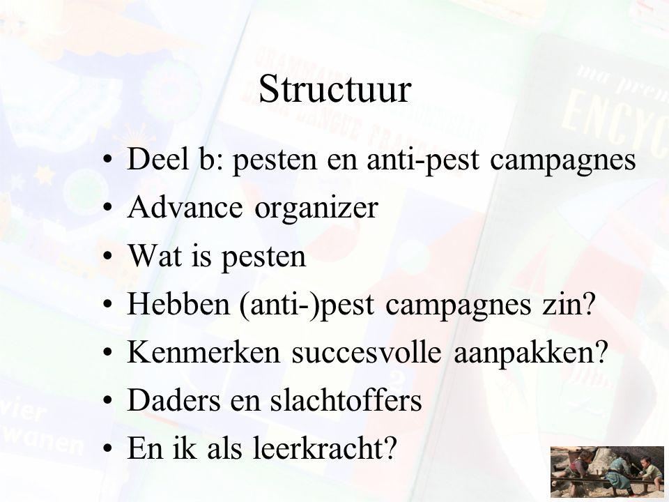 Structuur Deel b: pesten en anti-pest campagnes Advance organizer Wat is pesten Hebben (anti-)pest campagnes zin.