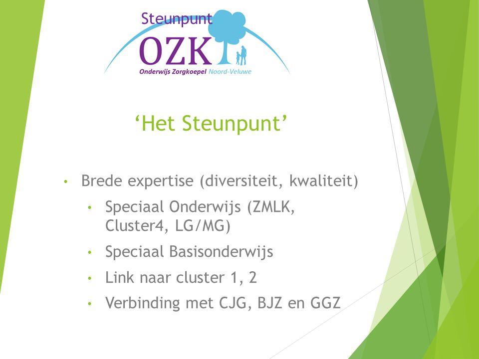 'Het Steunpunt' Brede expertise (diversiteit, kwaliteit) Speciaal Onderwijs (ZMLK, Cluster4, LG/MG) Speciaal Basisonderwijs Link naar cluster 1, 2 Verbinding met CJG, BJZ en GGZ Steunpunt