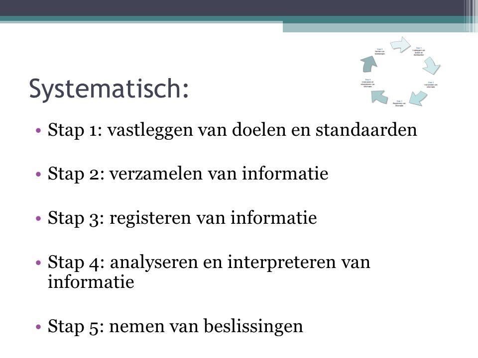 Systematisch: Stap 1: vastleggen van doelen en standaarden Stap 2: verzamelen van informatie Stap 3: registeren van informatie Stap 4: analyseren en i
