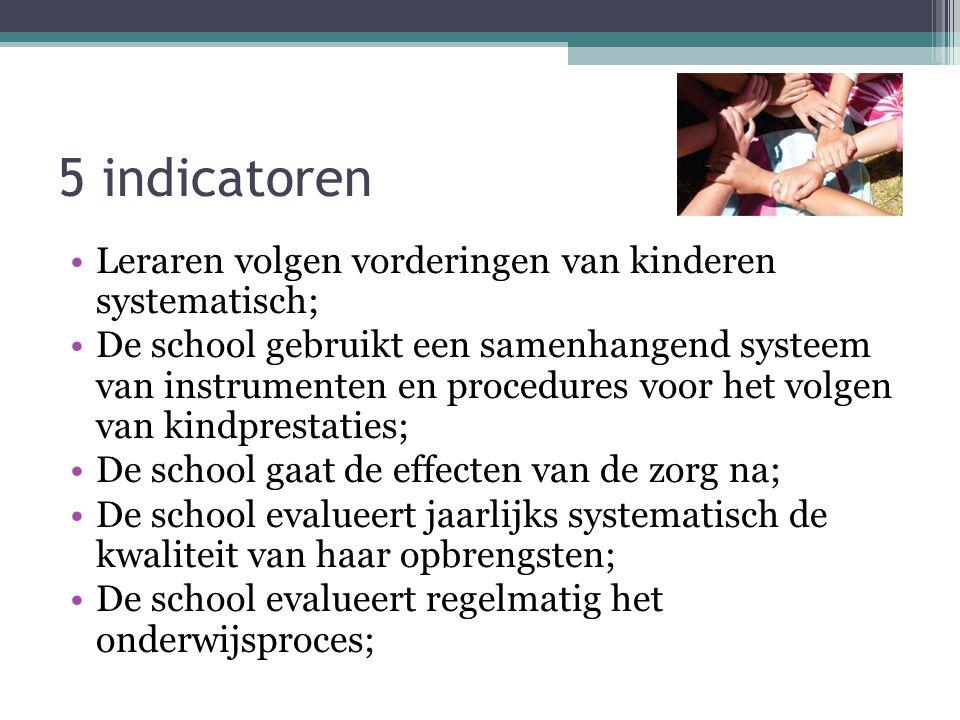 5 indicatoren Leraren volgen vorderingen van kinderen systematisch; De school gebruikt een samenhangend systeem van instrumenten en procedures voor he