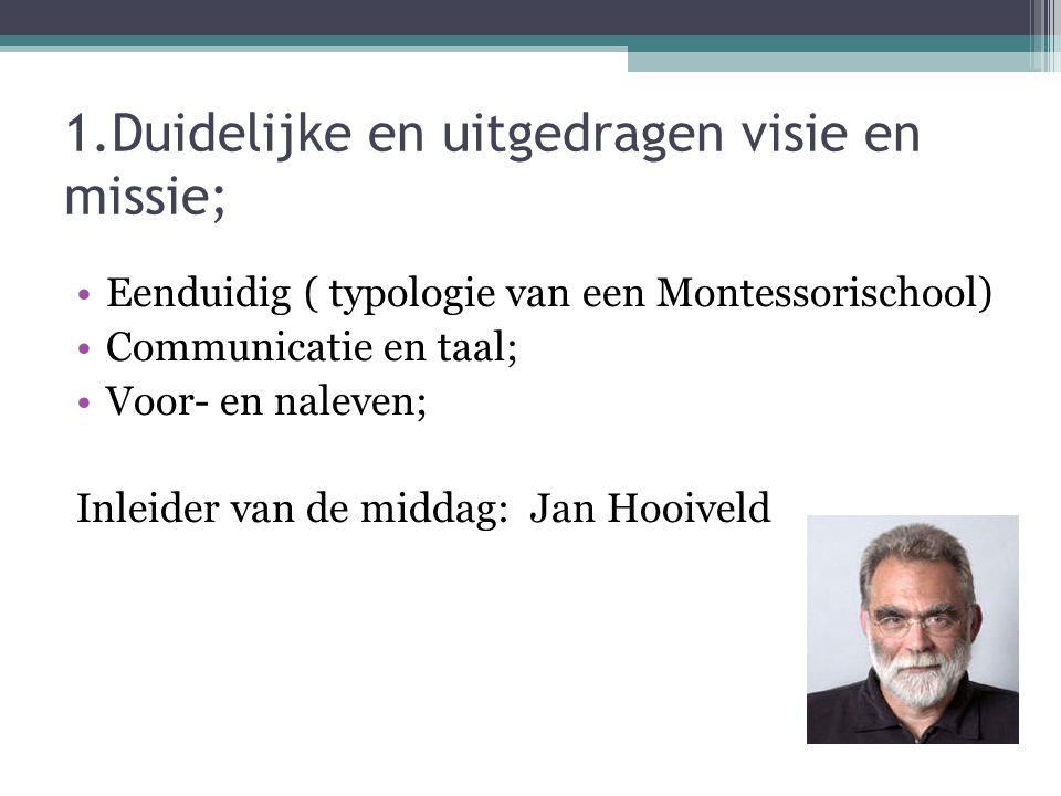 1.Duidelijke en uitgedragen visie en missie; Eenduidig ( typologie van een Montessorischool) Communicatie en taal; Voor- en naleven; Inleider van de middag: Jan Hooiveld