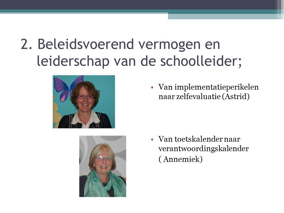 2. Beleidsvoerend vermogen en leiderschap van de schoolleider; Van implementatieperikelen naar zelfevaluatie (Astrid) Van toetskalender naar verantwoo