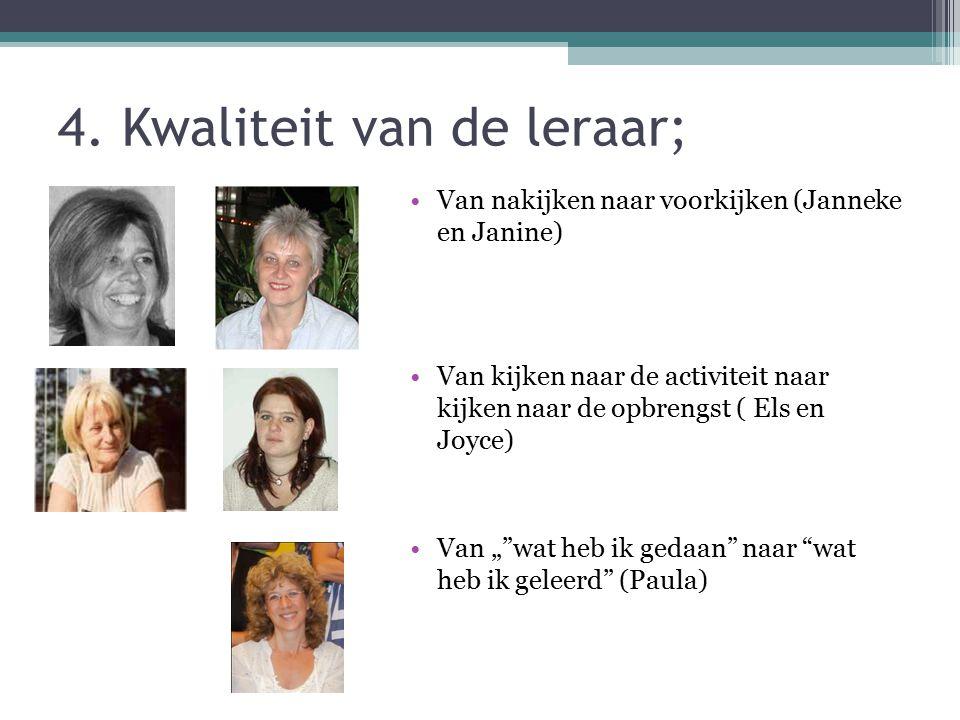 4. Kwaliteit van de leraar; Van nakijken naar voorkijken (Janneke en Janine) Van kijken naar de activiteit naar kijken naar de opbrengst ( Els en Joyc