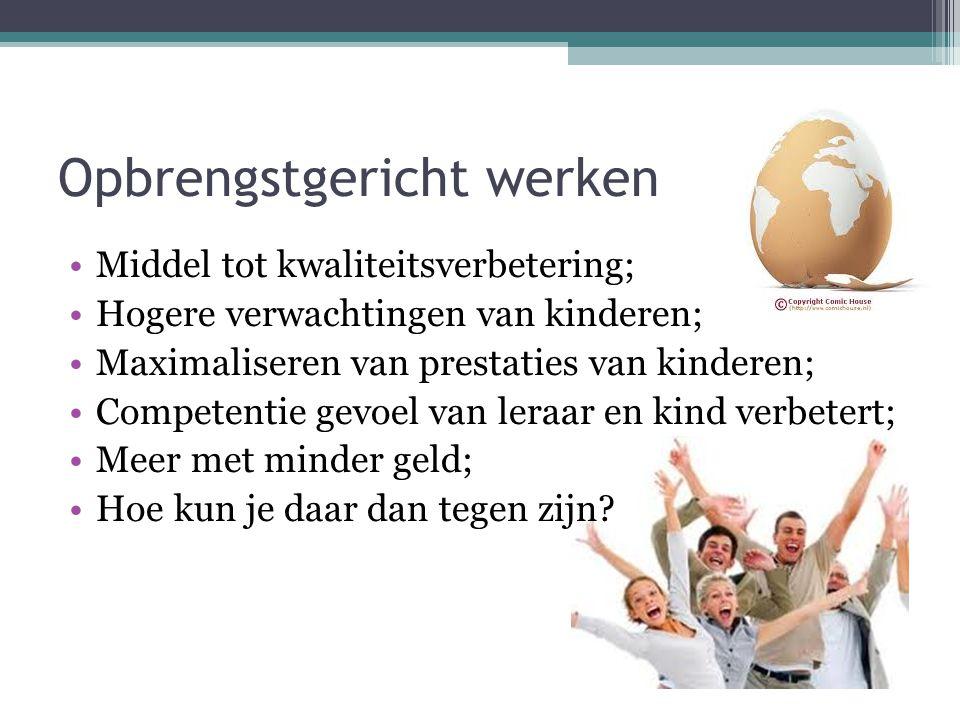 Opbrengstgericht werken Middel tot kwaliteitsverbetering; Hogere verwachtingen van kinderen; Maximaliseren van prestaties van kinderen; Competentie ge