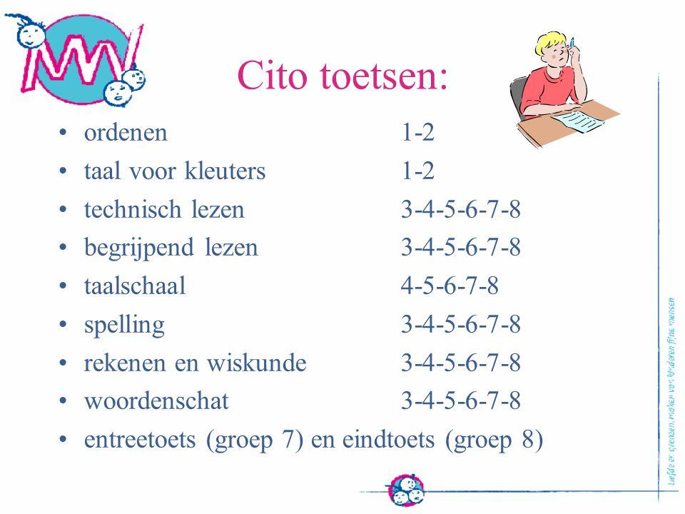 Cito toetsen: ordenen1-2 taal voor kleuters1-2 technisch lezen 3-4-5-6-7-8 begrijpend lezen3-4-5-6-7-8 taalschaal4-5-6-7-8 spelling3-4-5-6-7-8 rekenen