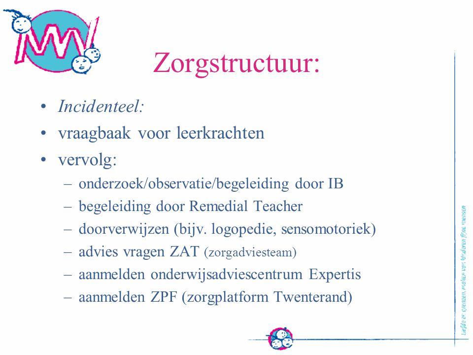 Zorgstructuur: Incidenteel: vraagbaak voor leerkrachten vervolg: –onderzoek/observatie/begeleiding door IB –begeleiding door Remedial Teacher –doorver