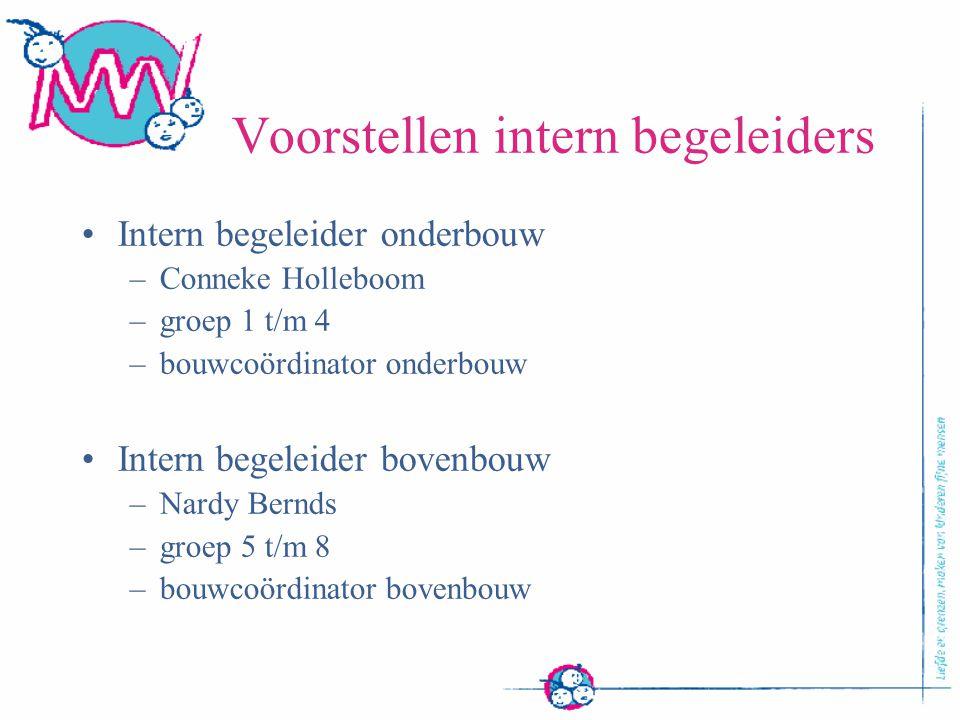 Voorstellen intern begeleiders Intern begeleider onderbouw –Conneke Holleboom –groep 1 t/m 4 –bouwcoördinator onderbouw Intern begeleider bovenbouw –N